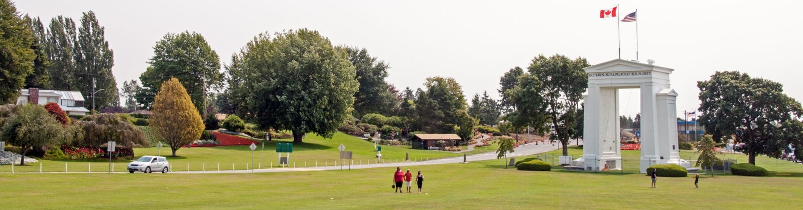 Canada And Usa Peace Arch On Country's Border